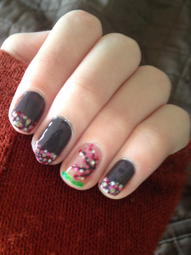 By coleen cherry blossom nails if the nasty weather has you down how about some cherry blossom nails brennas doing a 31 day nail design challenge and the whole house smells like nail prinsesfo Images